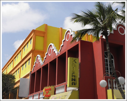 ORANJESTAD–More brightly colored buildings for the shoppers