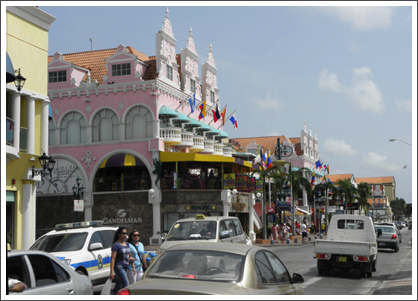 ORANJESTAD–Royal Plaza Shopping Mall, in Dutch Colonial style