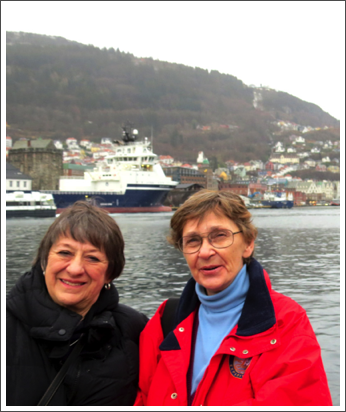 With Cousin Kathie in Bergen, Norway, on the trip that didn't happen–Feb. 2016