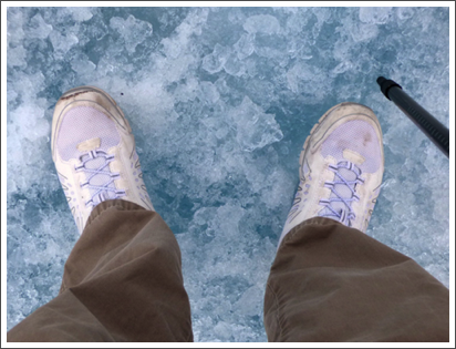 My feets on the Athabasca Glacier, Alberta, Canada–June, 2016
