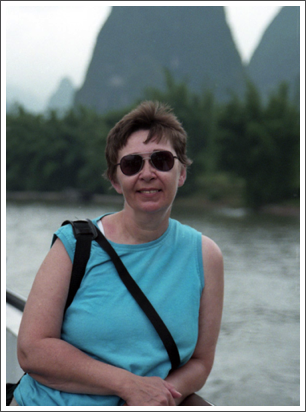 Floating through the limestone formations on the Li River, Guilin, China–May, 1998