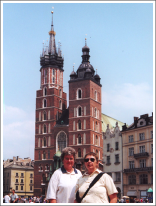 With Judy at St. Mary's Basilica, Krakow, Poland–June, 2000