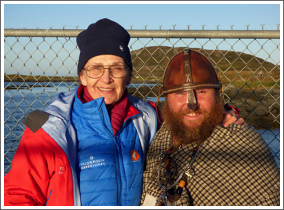 With Leif Erikkson at the Viking settlement in Lans aux Meadows, Canada–Sept. 2016