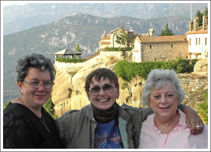 With Judy and Dee at the Meteora monasteries, Greece–Sep. 2011