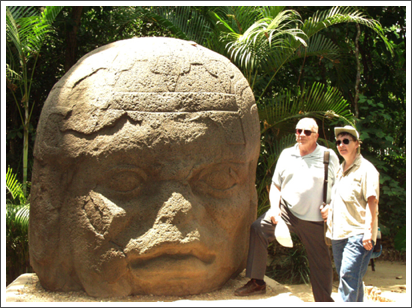 With Ernest by a stone Olmec head, Villahermosa, Mexico–March, 2001