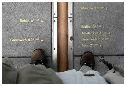 My feets on the Prime Meridian, Greenwich, England–March, 2010