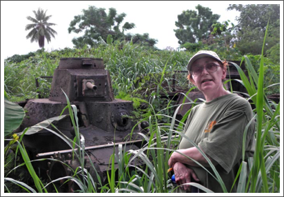 With a Japanese tank on Pohnpei, Micronesia–March, 2011