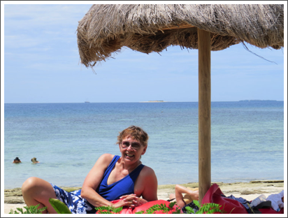 Relaxing on the beach near Fiji–Dec. 2013
