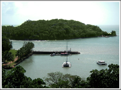 The harbor at Ile Royale with Ile St Joseph in the background