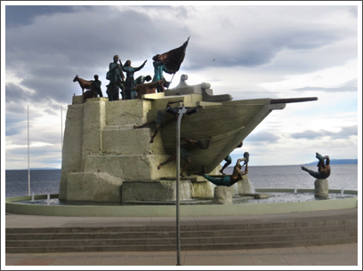 PUNTA ARENAS–seafront monument to the early settlers of the area