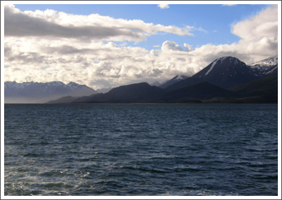 BEAGLE CHANNEL- heading southeast through the channel, the landscape becomes increasingly stark