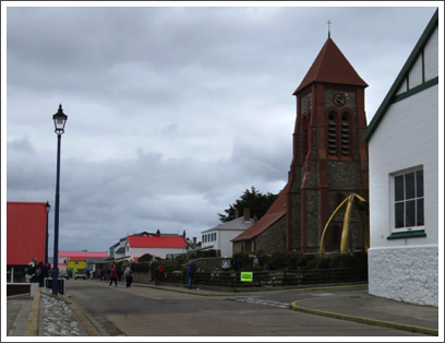 FALKLANDS–the Anglican Christ Church Cathedral in Stanley, built in 1892 of local stone and brick