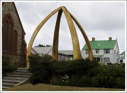 FALKLANDS–made from the jaws of two blue whales, the Whalebone Arch (1933) celebrated 100 years of British rule