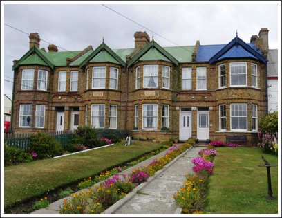 FALKLANDS–the Jubilee Villas are a handsome attraction in Stanley, the islands' capital