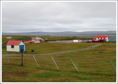 FALKLANDS–tidy little sheep ranches dot the countryside