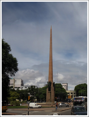 MONTEVIDEO–a three-sided obelisk represents law, liberty, and power, 1938