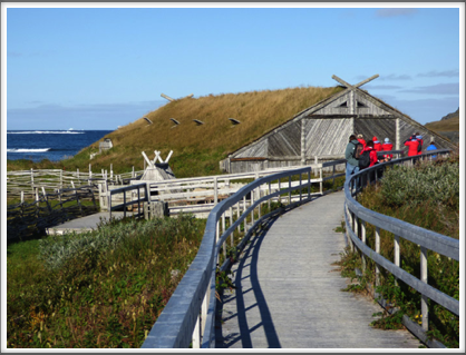 L'ANSE AUX MEADOWS—seven reconstructed buildings with sod roofs make up the site